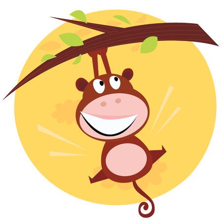 かわいい猿茶色のツリーからぶら下がっています。木の枝からぶら下がっている茶色のかわいい猿の漫画イラスト。猿の背後にある夕日のシーン。