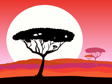 African safari background with red sunset and tree silhouette. Dark red safari background landscape. Vector Illustration. Beautiful sunset scene with acacia trees silhouette, hills and sunset.