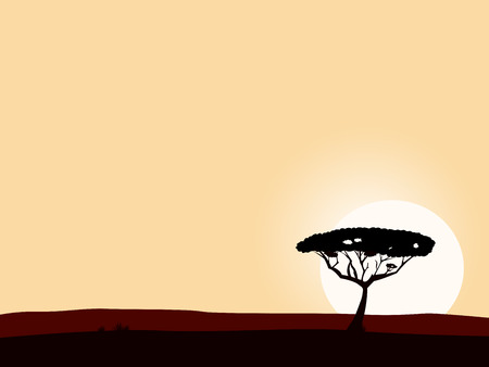 serengeti: African safari background with acacia black tree silhouette. Vector illustration of black tree on yellow sunset background. Big copyspace - write your own text!