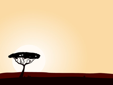 panoramic landscape: African safari background with acacia black tree silhouette. Vector illustration of black tree on yellow sunset background. Big copyspace - write your own text!