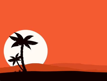 palmeras: Fondo de Retro vacaciones de rojo con la silueta de la puesta del sol y la Palma. Ilustraci�n vectorial de fondo de vacaciones tropicales. Silueta negra de Palma y el sol detr�s de colinas.