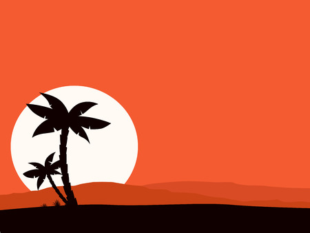 Retro holiday red background with sunset and palm silhouette. Vector Illustration of tropical holiday background. Black palm silhouette and sun behind hills. Vector