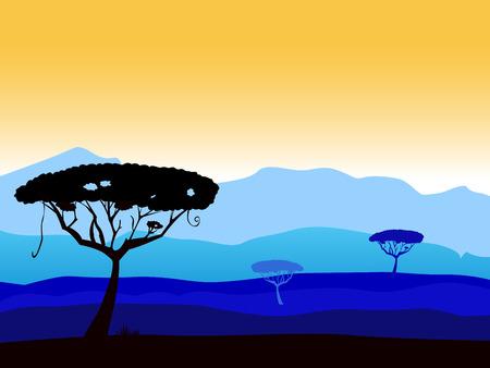 Fondo de safari africano con la silueta de árbol. Fondo de vector con silueta de árboles de acacia oscuro. Altas montañas azul oscuro en segundo plano.