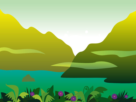 mountain holidays: Mountain and jungle landscape background. Vector Illustration of tropical rainforest. Jungle landscape with mountain,  exotic plants and river.