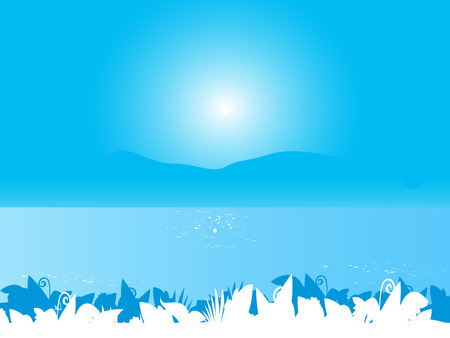 Blue sea landscape background with plant leafs. Stylized vector Illustration of sea landscape.  Vector