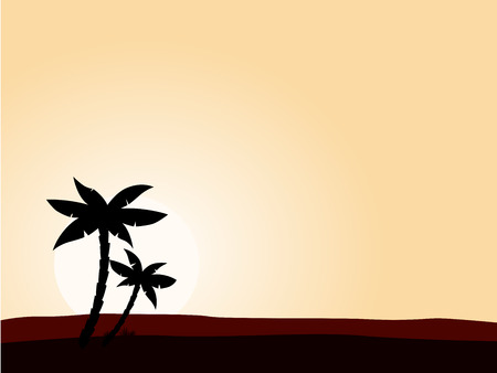 Desert sunrise background with black palm tree silhouette. Vector illustration of black palm tree on yellow sunset background. Perfect for travel agency or sea reasort. Vector