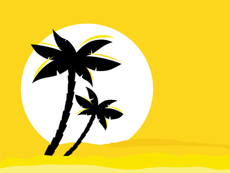 Yellow desert sunrise background with black palm tree silhouette. Vector illustration of black palm tree on yellow sunset background. Perfect for travel agency or sea reasort.