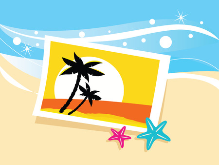 Vacation photo with tropical palms and sunset on the beach. Photo with tropical palms on beach sand. Vector Illustration. Vector
