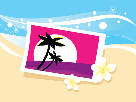 coastal: Vacation photo in sand. Photo with tropical palms and flowers in beach sand. Vector Illustration. Illustration