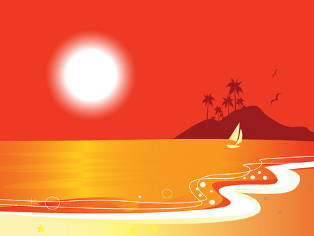 Sunny red beach coastal and ocean with sailor boat. Vector