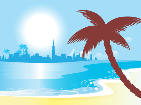 Sunny blue ocean landscape illustration.