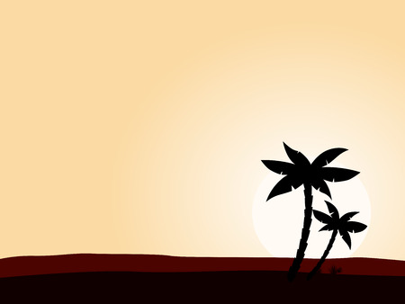 Desert sunrise background with black palm tree silhouette. Vector