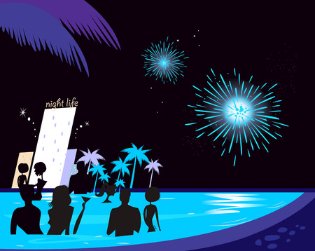 Water party night: People silhouette in pool &amp, fireworks behind. People in night pool. Stock Vector - 7102542