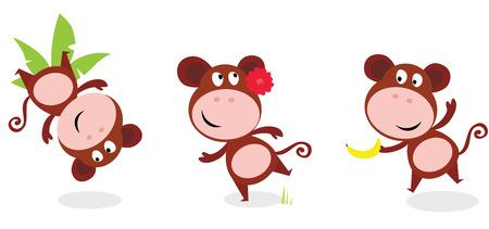 mono caricatura: Animales de Safari: Brown mono cute plantea aislado sobre fondo blanco