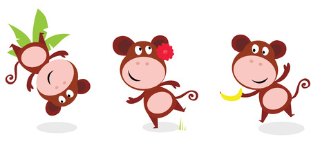 Safari animals: Brown cute monkey poses isolated on white background Vector