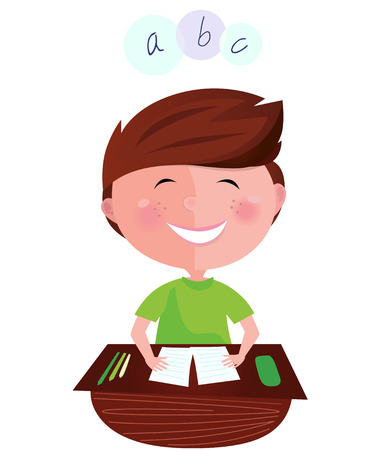 homework: Back to school: Happy smiling learning boy on english lesson. Cartoon  illustration of boy learning the letters.  Illustration