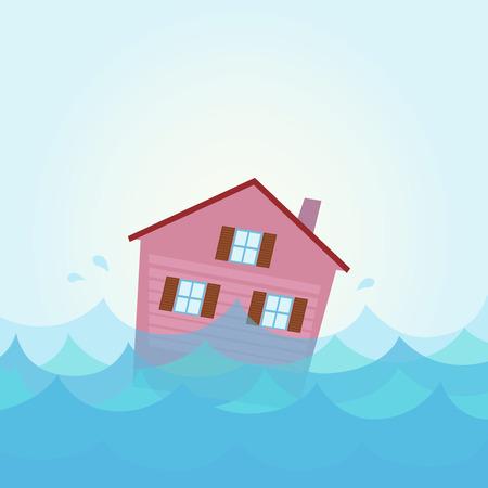 catastrophe: En cas de catastrophe naturelle: inondations Maison - inondations � domicile sous l'eau. Illustration d'inondation maison. Illustration de la maison de sombrer dans la rivi�re  lac dans le style bande dessin�e. Illustration