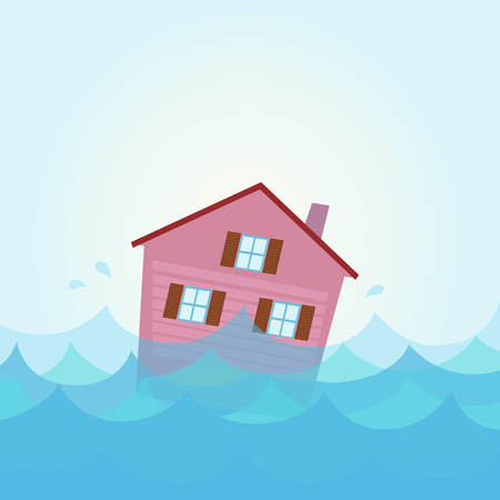 Nature disaster: House flood - home flooding under water. Illustration of house flood.  Illustration of sinking house in the river  lake in cartoon style. Vector