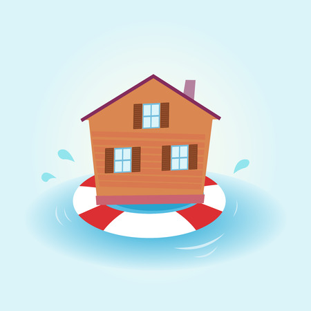�ber Wasser: Haus Flut - flott zu bleiben. Illustration von Haus zu bleiben, �ber Wasser. Natur-Katastrophe oder wirtschaftlichen Krise? Das Haus bleiben flott.