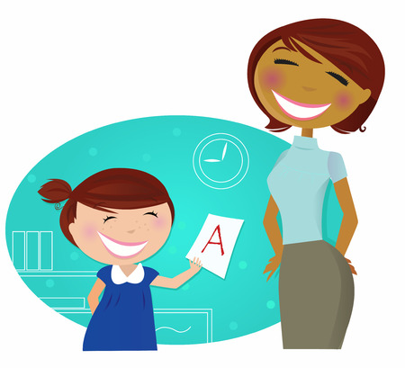 Back to school: Small cute child come to home with good grades. Small girl showing good grade to her mother / teacher / aunt. Stylized  cartoon illustration. Stock Vector - 7127947