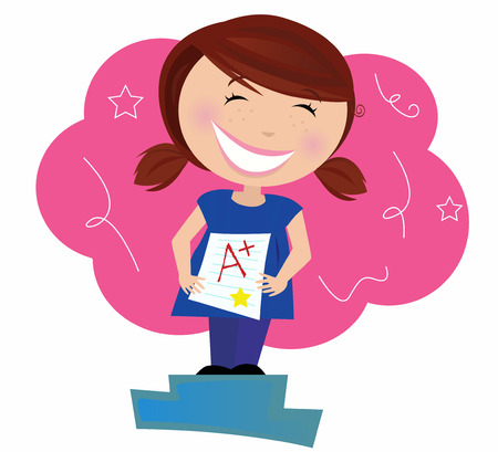 Back to school: Happy small child dreaming about good grades. School superstar! Small school girl holding up test and dreaming about A plus grade. Vector