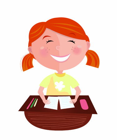 study icon: Back to school: Happy red hair girl in classroom. Small pupil sitting in the classroom. Cute girl study hard, but learning makes her fun! Stylized  Illustration