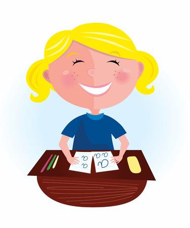 leccion: Regreso a la escuela: niña de pelo rubio feliz en el aula. Pupila pequeña sentado en el aula. Niña bonita estudiar duro, pero su burlarse de aprendizaje! Estilizada ilustración
