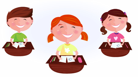 Back to school: cartoon kids in classroom. School is fun! Happy Boy and two girls sitting  in school classroom. Stylized cartoon illustration of classmates. Vector