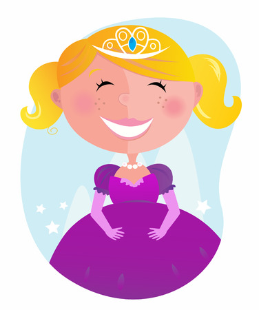 blonde teenage girl: Cute little princess in pink dress with tiara. cartoon illustration of small pink princess.