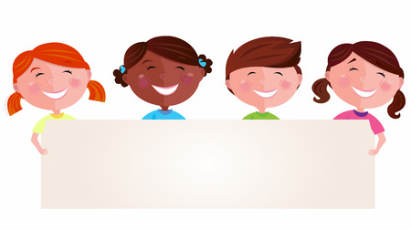 four friends: Cute multicultural kids holding a blank banner for your message. Vector Illustration of multicultural kids. Blank space for your message.