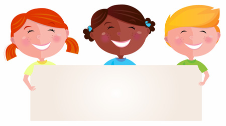 Cute multicultural children holding a blank sign for your message. Vector Illustration of multicultural children. Blank space for your message. Vector