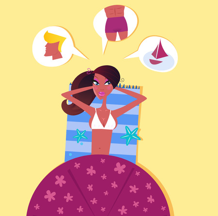 Single sexy woman on the beach dreaming about perfect man. Illustration of sexy dark skin woman lying on the beach. She is dreaming about perfect man! Vector