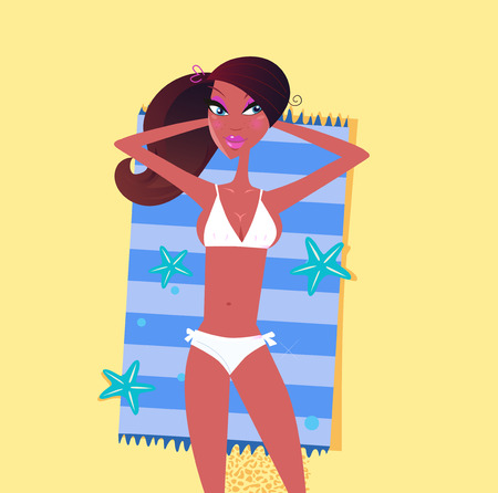 Sexy dark skin woman on the beach sand. Brown hair and dark skin girl enjoys sun tan bed. Illustration of sexy woman lying on summer beach. Stock Vector - 7167318