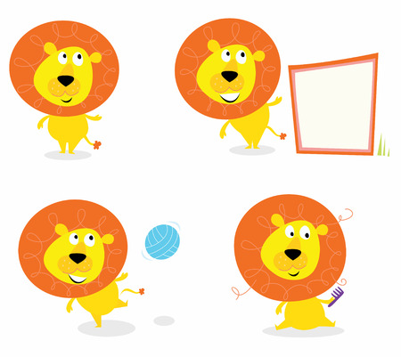 cartoon illustration of cute safari lion character: single lion, lion with blank sign, lion with football ball and one with crazy hair style. Vector