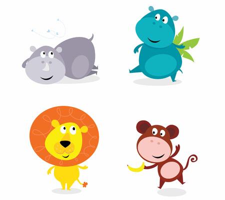 Conjunto de animales de safari cute - hipopótamo, rhino, León y mono  Ilustración de vector