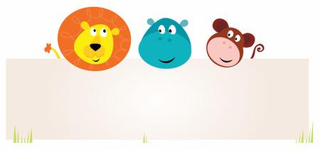 cute jungle dieren met lege teken. Leeuw, Nijl paarden en aap.