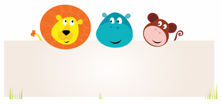 cartoon  lion: cute jungle animals with blank sign. Lion, hippopotamus and monkey.