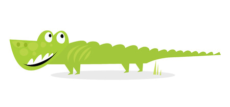 Cartoon happy green crocodile isolated on white background Vector