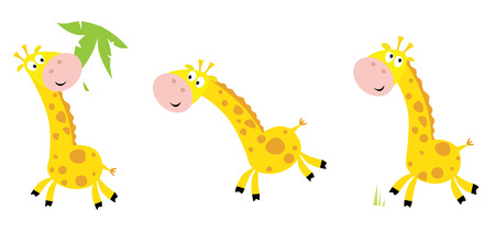 cartoon yellow giraffe in 3 poses: eating, running and standing