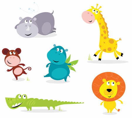 animal fauna: cartoon illustration of six cute safari animals - Giraffe, Hippopotamus, Rhinoceros, Crocodile, Lion and Monkey.