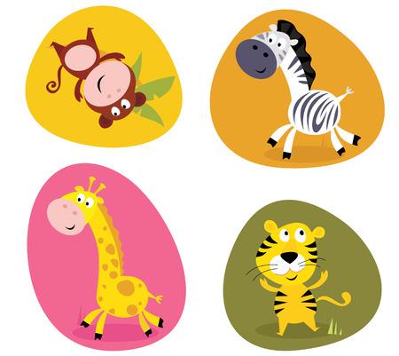 mono caricatura: Conjunto de ilustraci�n de safari lindos animales: mono, el tigre, la jirafa y la cebra
