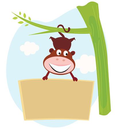 mono caricatura: Cute mono poco que celebrar un signo en blanco. Escribir tu texty en signo en blanco.