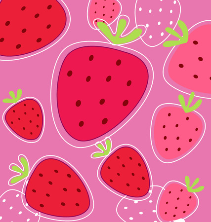 Stylized texture of red strawberry isolated on black background Vector