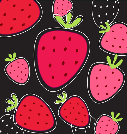 Stylized texture of red strawberry isolated on pink background Vector