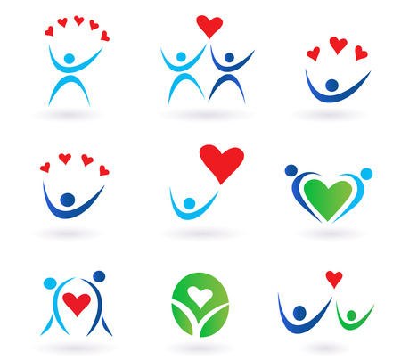 love symbol: pack of love, relationship, community and family icons for websites and magazines.