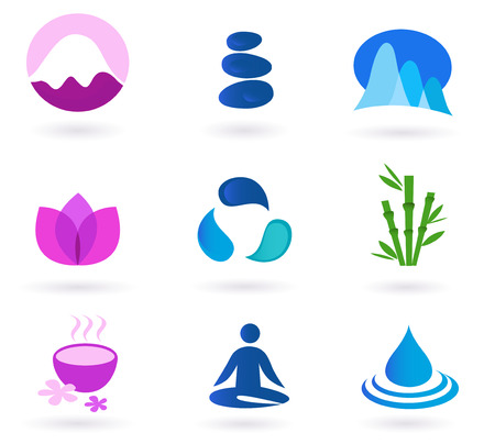 fragrances:  Wellness, relaxation and yoga icon set.