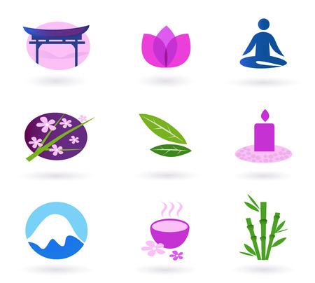 Wellness, Entspannung und Yoga-Symbol festgelegt.