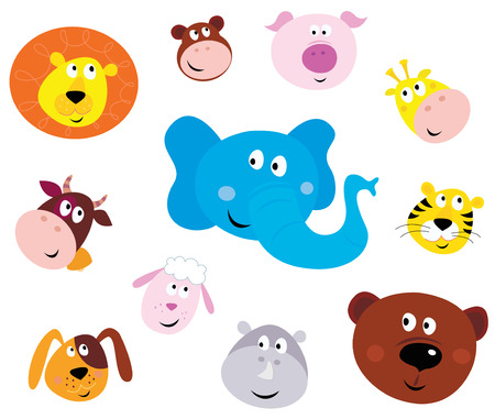 illustration set of cute animals faces. Animal heads on white background. Lion, Monkey, Pig, Giraffe, Cow, Elephant, Tiger, Sheep, Dog, Hippo and Bear.