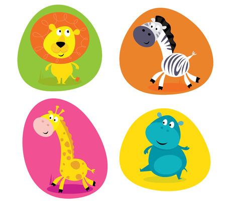 hippopotamus: Conjunto de animales de safari cute - Le�n, la cebra, la jirafa y el hipop�tamo