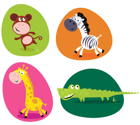 Cute safari animals set - monkey, zebra, giraffe and crocodile Vector